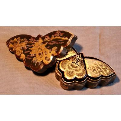 Lacquer Box In The Shape Of A Butterfly Japan Nineteenth