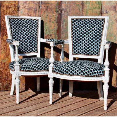 Pair Of 18th Century White Lacquered Directoire Armchairs