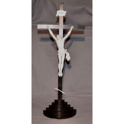 Christ In Cross XIXth In Ivory