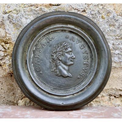 18th Century Pewter Medallion Representative Caesar Augustus