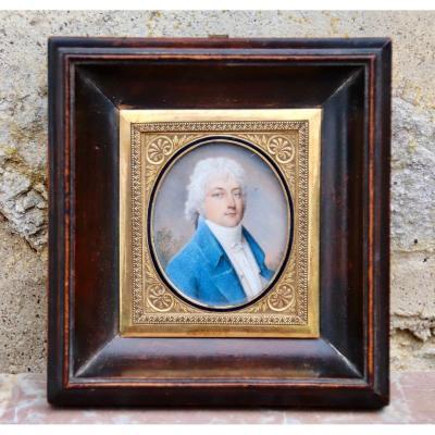 Miniature Of Man In Blue Jacket Early Nineteenth