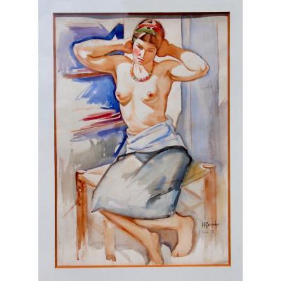 Dessin Aquaréllé De H. GervÈze Femme dénudée En Buste devant