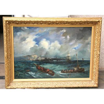 "Peinture XIXème "" ""chaloupes En Mer"""