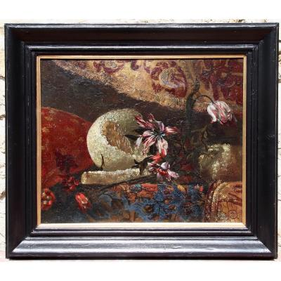 17th Century Painting Still Life With Fruits And Flowers On Tapestry Background