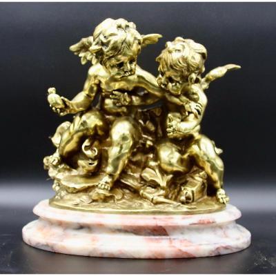 Groupe Bronze Doré Les Amours Par José De Creeft