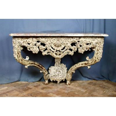 Eighteenth Carved Wall Console In Rechampi Oak