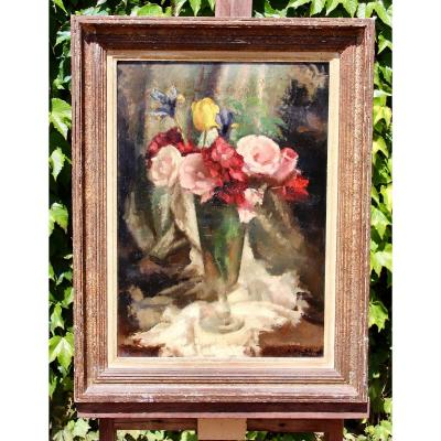 XXth Painting Bouquet Of Flowers In A Vases