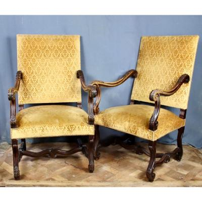Pair Of Louis XIV Style Armchairs In Walnut