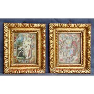 Pair Of 17th Century Religious Paintings On Velin