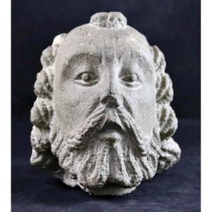 XVth Sculpture Head Of A Bearded Man