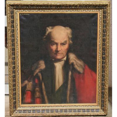 Portrait d'Un Homme De Loi Par Alfred Lecreux