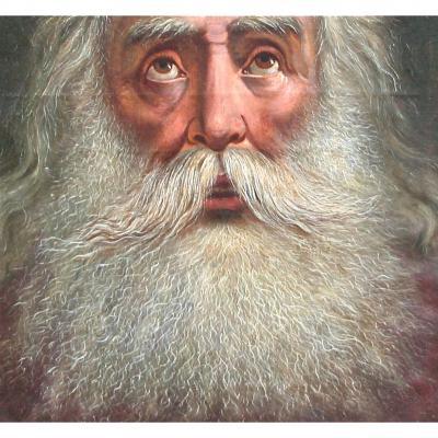 """Peinture XVIIIème """"portrait De Dieu Le Père"""""""