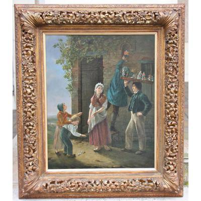 """Huile sur toile XIXème """"les Statuettes"""" de Henri DECOENE"""