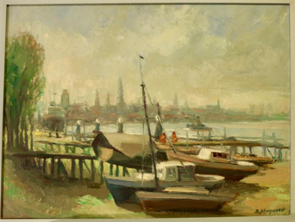B. Steyaert Port View (oil On Canvas)