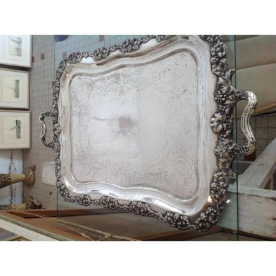 Large Plateau English Silver Plated Grapes Decor