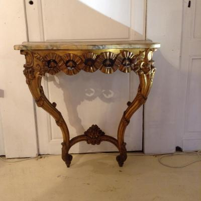 Louis XV Console In Golden Wood.