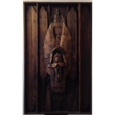 Wood Sculpture, Assemblage, Bas Relief, Signed Alessandri.