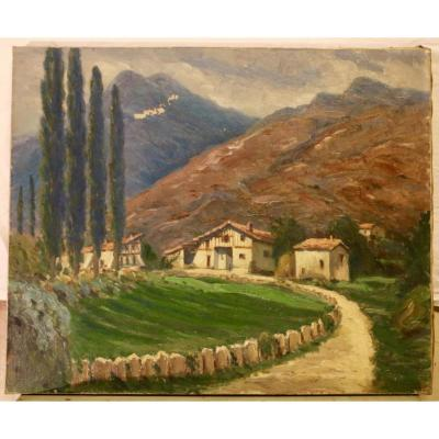 Oil On Canvas - View Of The Basque Country By Jean-rené Chassaigne
