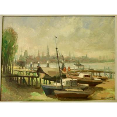 B. Steyaert Port View (oil On Canvas)