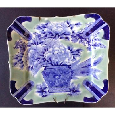 Japan Imari Plate XIXth Celadon Green Background
