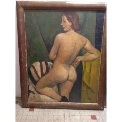 Antoine Chartres  Nude Standing Oil On Canvas