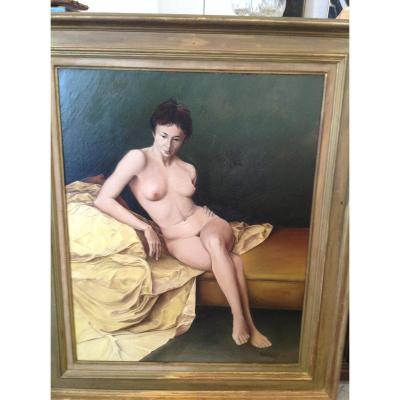 Naked In The Yellow Drape By Franco Ghisotti Dated 1955