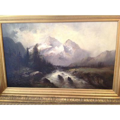 Les Alpes Paysage Romantique Par Regner(?)