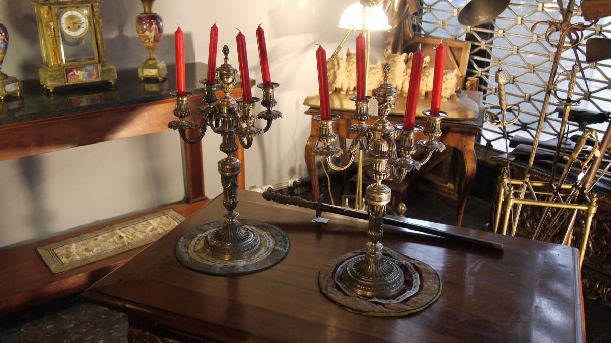 Silver Bronze Candlesticks