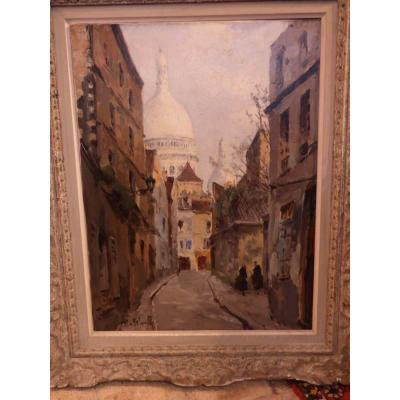 Oil On Canvas View Of Paris