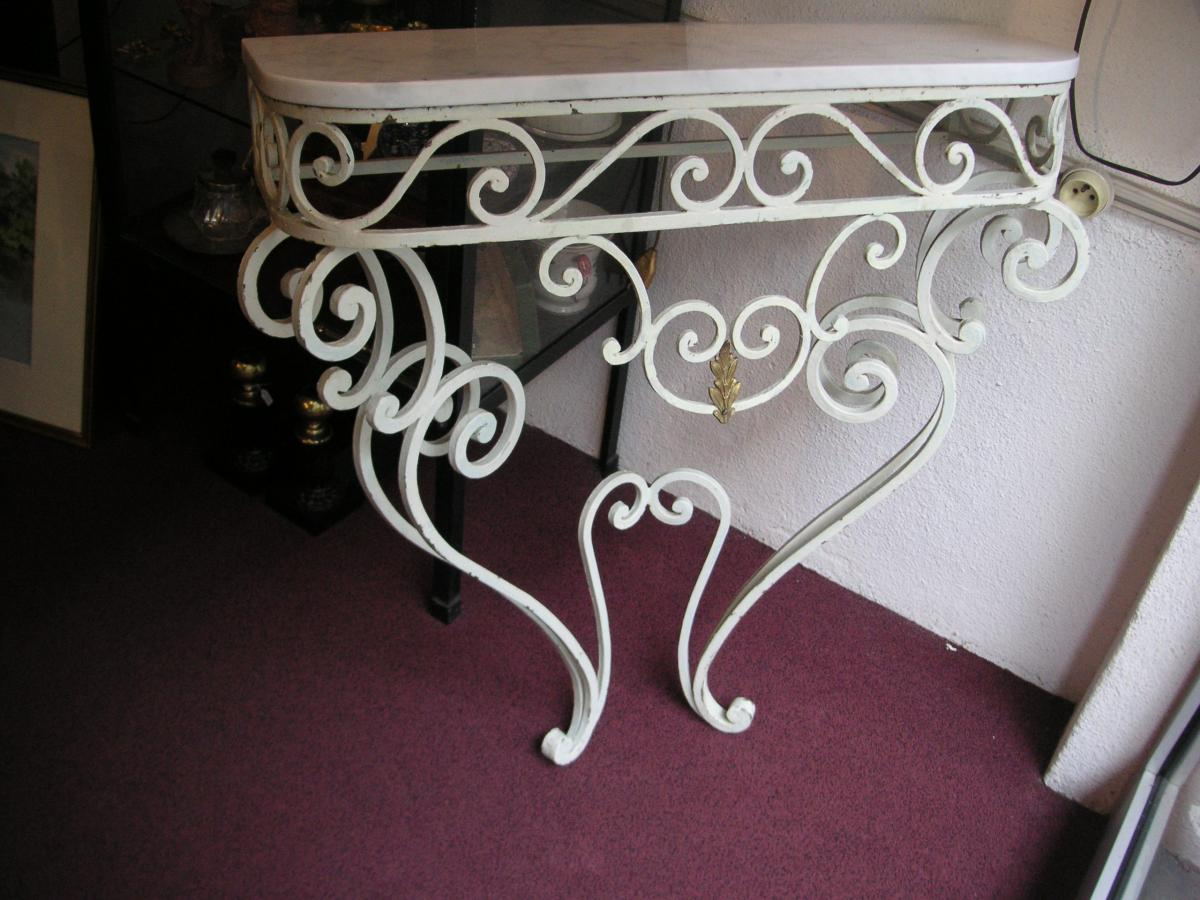 "Console Wrought Iron On Marble ""carrara"" / Years 1950-1960"
