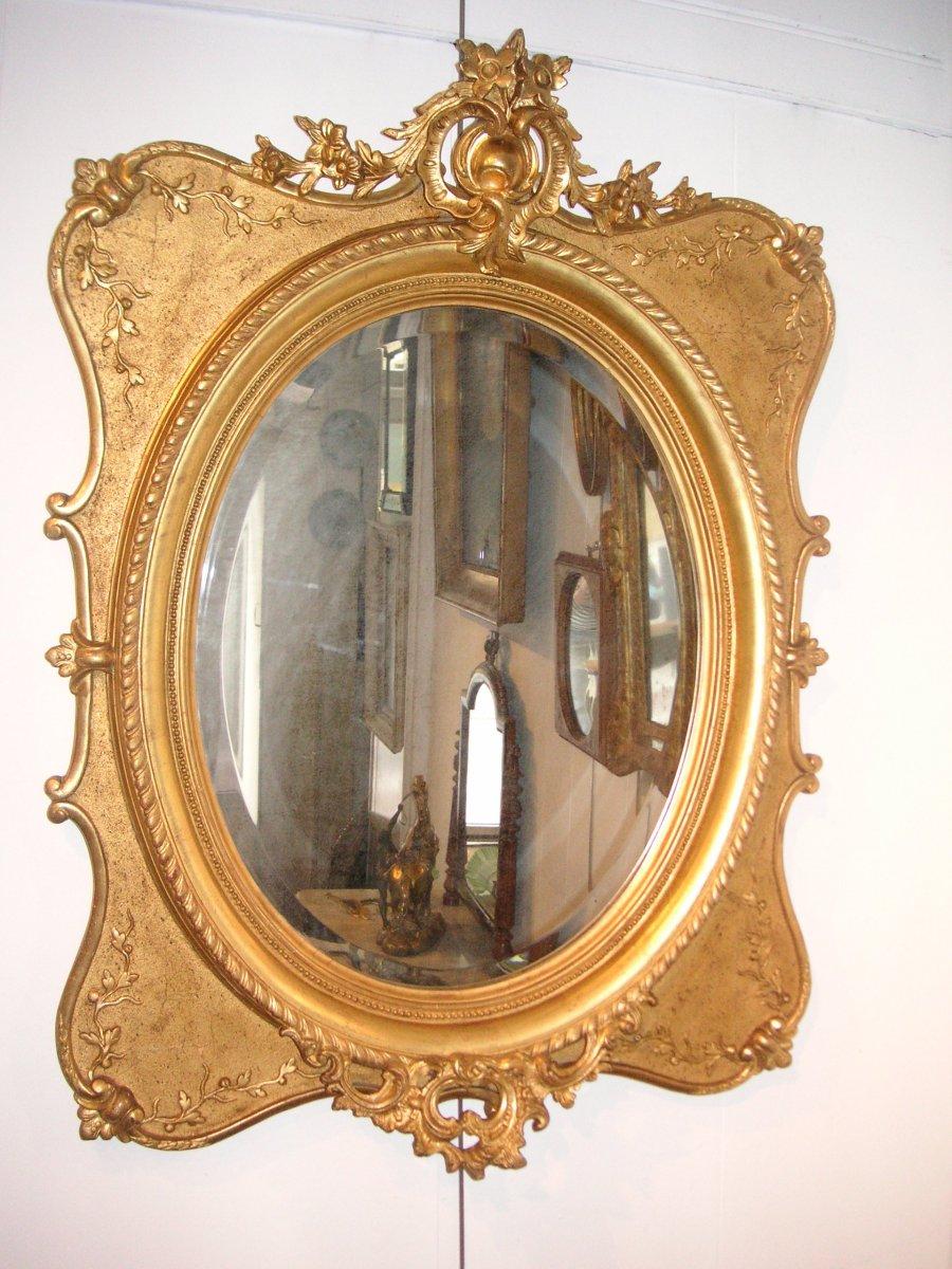 Golden Mirror 19th / Beige Oval Ice Cream
