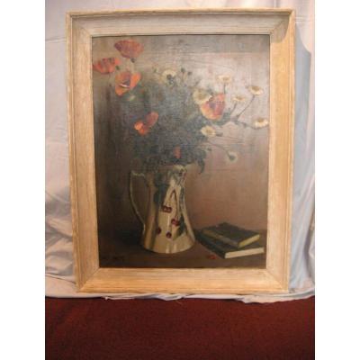 """Peinture """"vase de fleurs"""" (h/t) Signée M.T.Barret"""