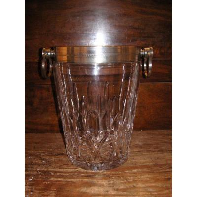 Crystal Champagne Bucket / Silver Metal