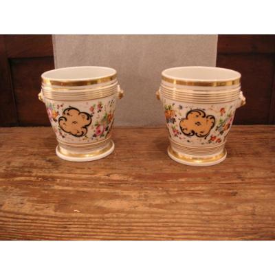 Cache-pot en paire milieu 19ème /porcelaine de Paris