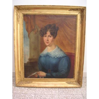 """Tableau """" femme"""" époque Restauration /huile sur toile signée datée"""