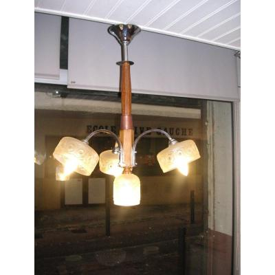 Art Deco Chandelier / Cleaned And Re-electrified / 4 Lights