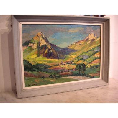 Framed Painting By Lucien Quenard / Jarsy En Bauges (savoie) / Oil On Canvas