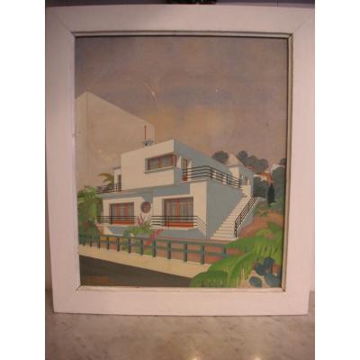 Dessin d'architecture gouaché-aquarellé /VOIRON - Aquarelle de M .Girard  / Epoque art déco