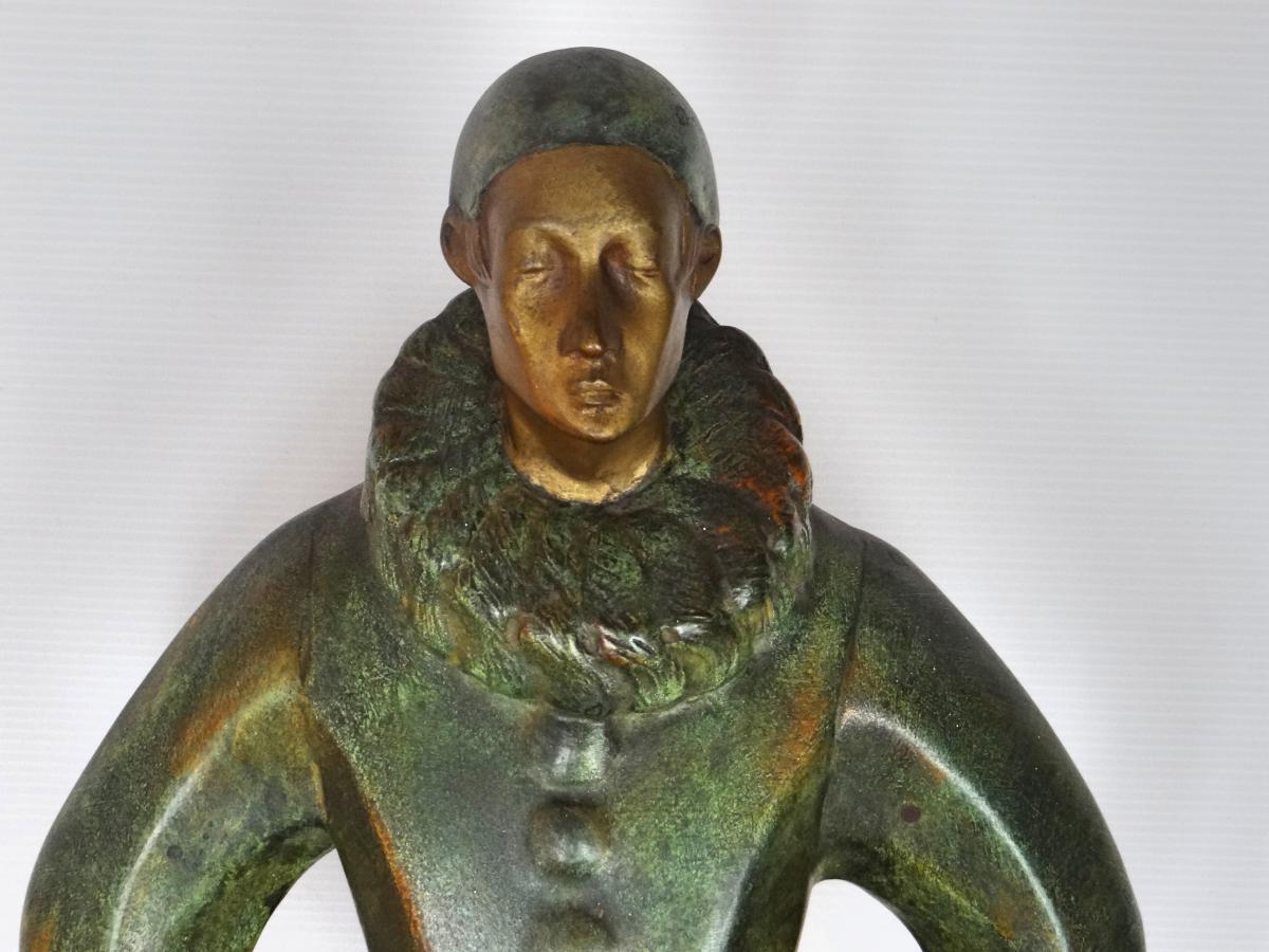 Bronze Pierrot Signé Roland Paris