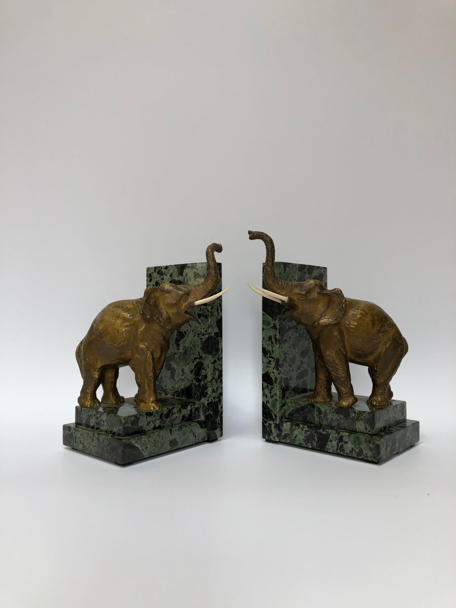 Pair Of Art Deco Bookends In Bronze And Ivory