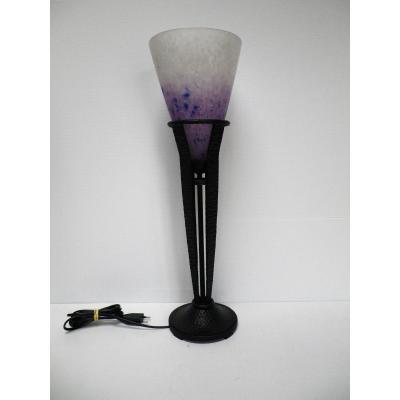 Lampe Art Déco Schneider Pied Fer Forgé Art Deco