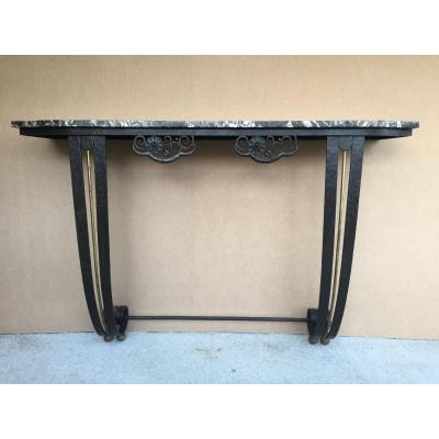 Art Deco Console In Wrought Iron And Marble