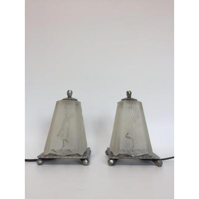 Pair Of Art Deco Night Lights