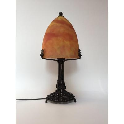 Edgar Brandt Et Daum Nancy Art Deco Lamp