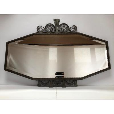 Edgar Brandt Rare Miroir Art Déco En Fer Forgé 1932