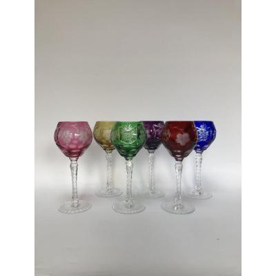 Cristalleries De Lorraine 6 Verres à Vin De Couleur Vers 1940