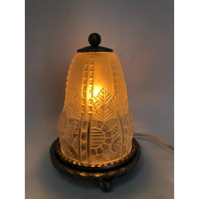 Art Deco Molded Glass Night Light Attributed To Hettier And Vincent