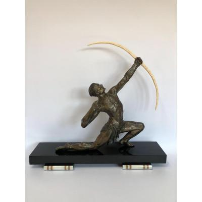 Art Deco Sculpture Signed By J De Roncourt Around 1930