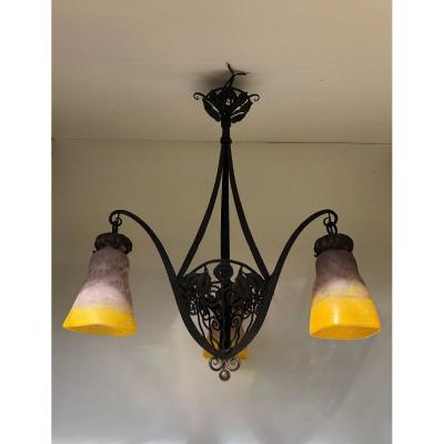 Art Deco Wrought Iron Chandelier Three Tulips In Glass Paste