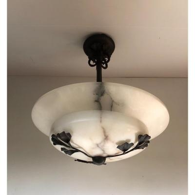 Art Deco Suspension In Wrought Iron And Alabaster
